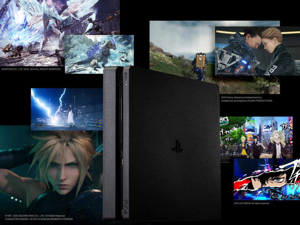 Talented creators have produced a number of hit video games for the PS4 game console (from top left: Monter Hunter World: Inceborne, Death Stranding, Persona5 and Final Fantasy VII Remake)